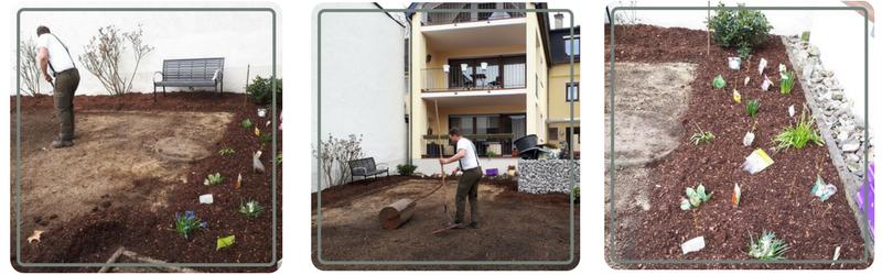 Im Rahmen der Gartenpflege bereiten wir den Boden für Beete vor.